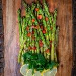 grilled asparagus with sliced lemon