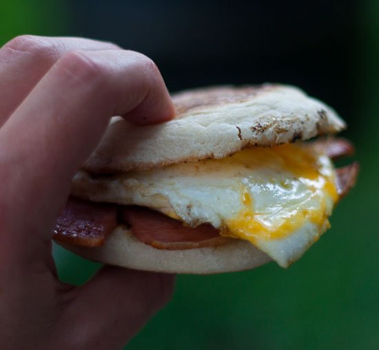 Grilled Taylor Pork Roll, Egg, and Cheese on an English Muffin