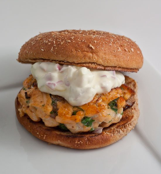 Grilled Salmon Burgers with Cilantro, Ginger, and Red Onion