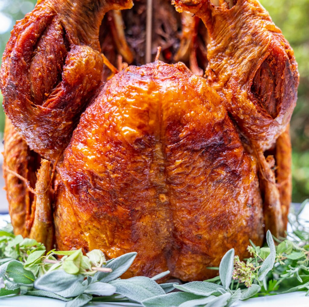 close up of the golden brown deep fried turkey skin