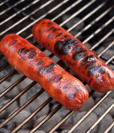 Grilling hot dogs for the crab mac n cheese hotdog recipe