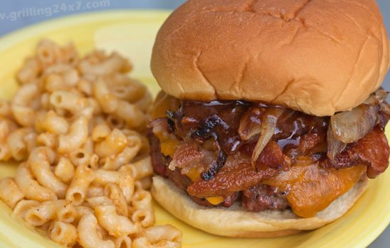 Pub Burger Recipe with sauteed onions, bacon and steak sauce - Grilling24x7