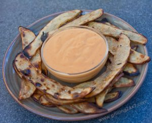 Grilled French Fries With A Grilled Habanero Cheddar Cheese Dipping Sauce