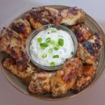 Jerked chicken wing marinade recipe with a cool green onion dipping sauce - Grilling24x7