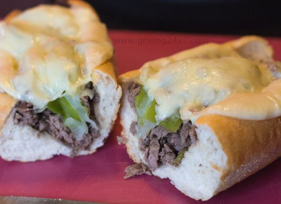 Cheesesteak made from sliced sirloin