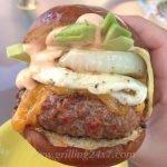 Sriracha Mayo on top of a massive burger
