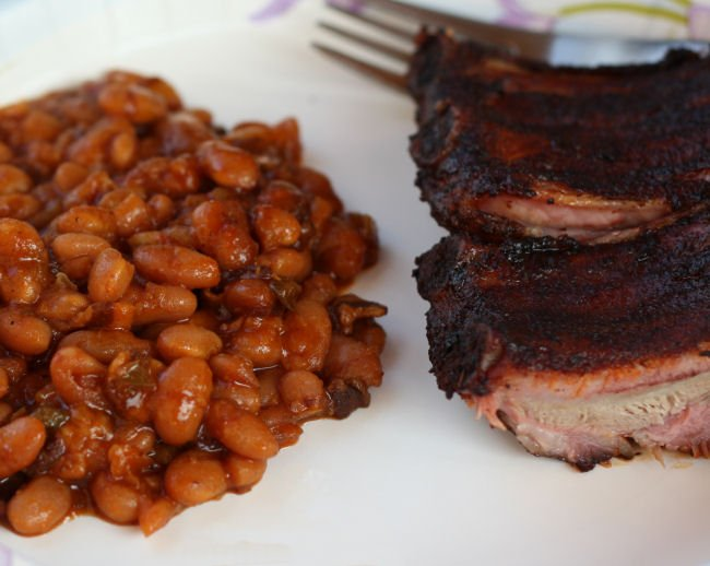baked beans in a cast iron skillet