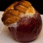 grilled stuffed apple with marshmallow topping
