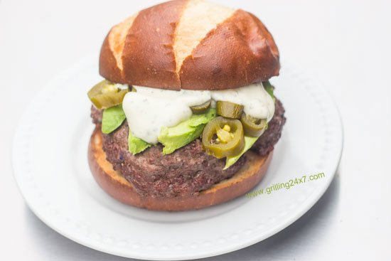 Avocado Ranch Burger with jalapeno peppers recipe from Grilling24x7.com