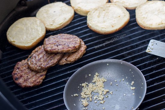Double Sausage Burger on Garlic Bread Rolls