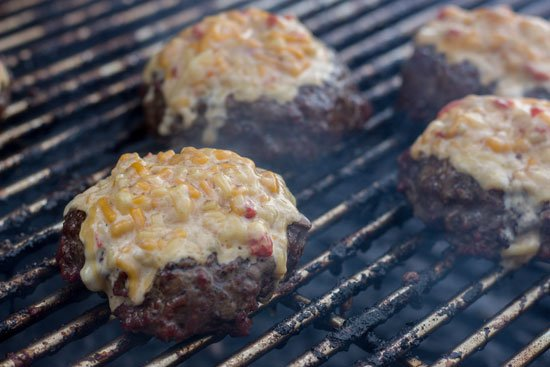 Worcestershire Soaked Burgers with Pimento Cheese