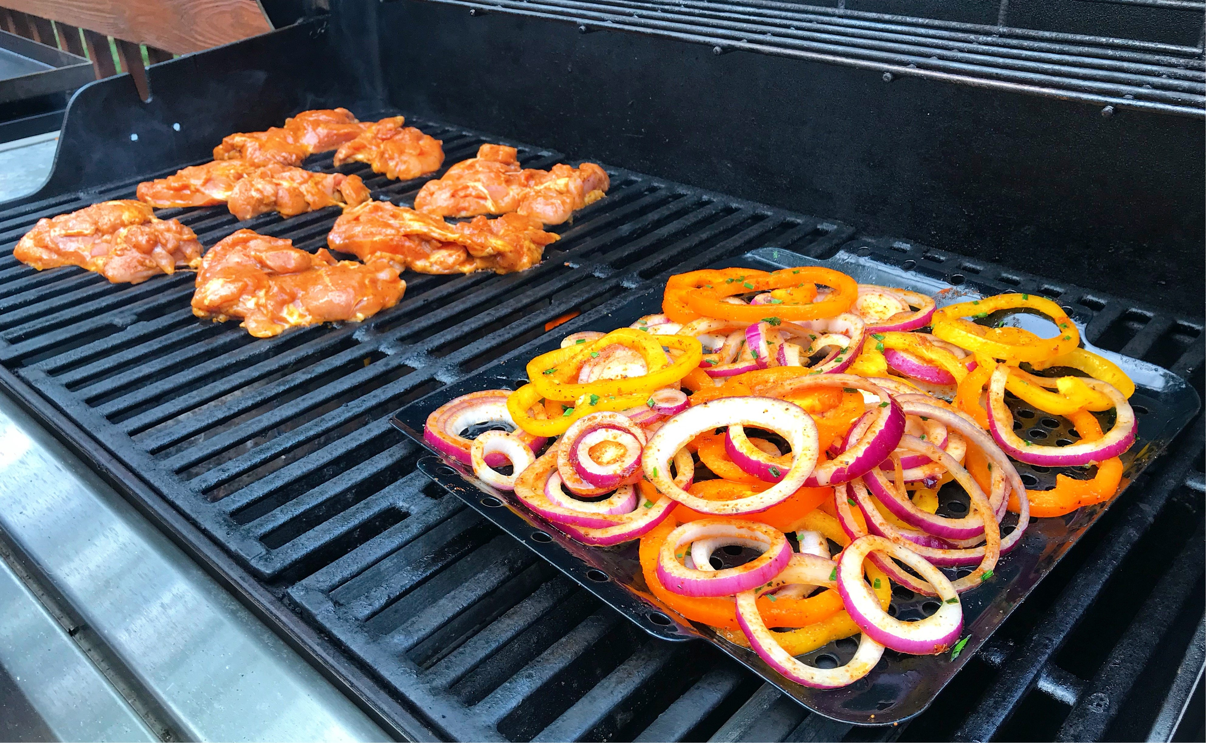 chicken and veggies on grill