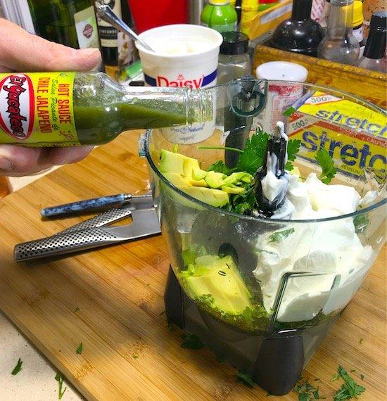making Avocado Jalapeño Crema in blender
