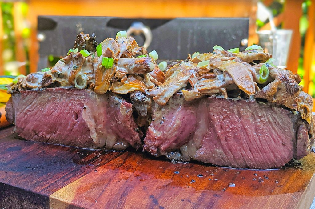 Reverse sear Tomahawk Ribeye with Chanterelle Mushroom cream sauce