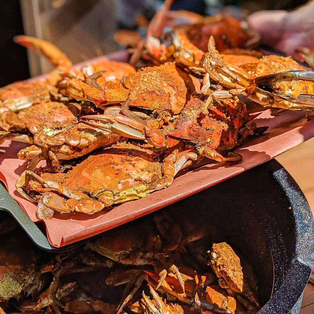 Steamed Chesapeake Blue crabs seasoned with J.O. Seafood seasoning