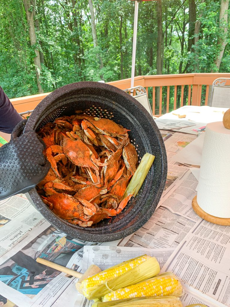 Eating Maryland Steamed Crabs