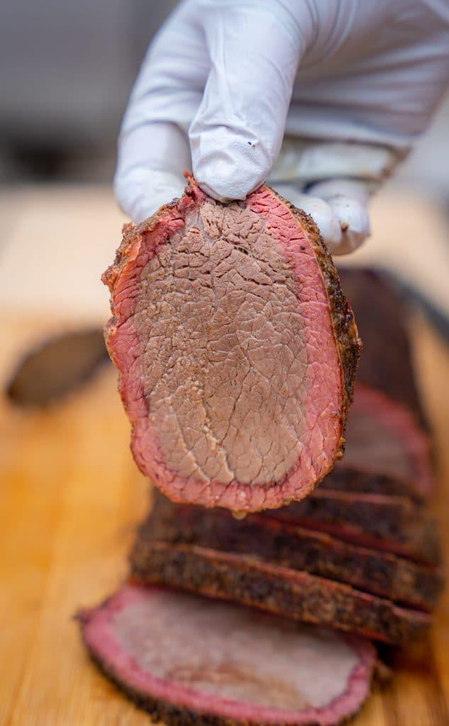 Sliced beef eye round smoked