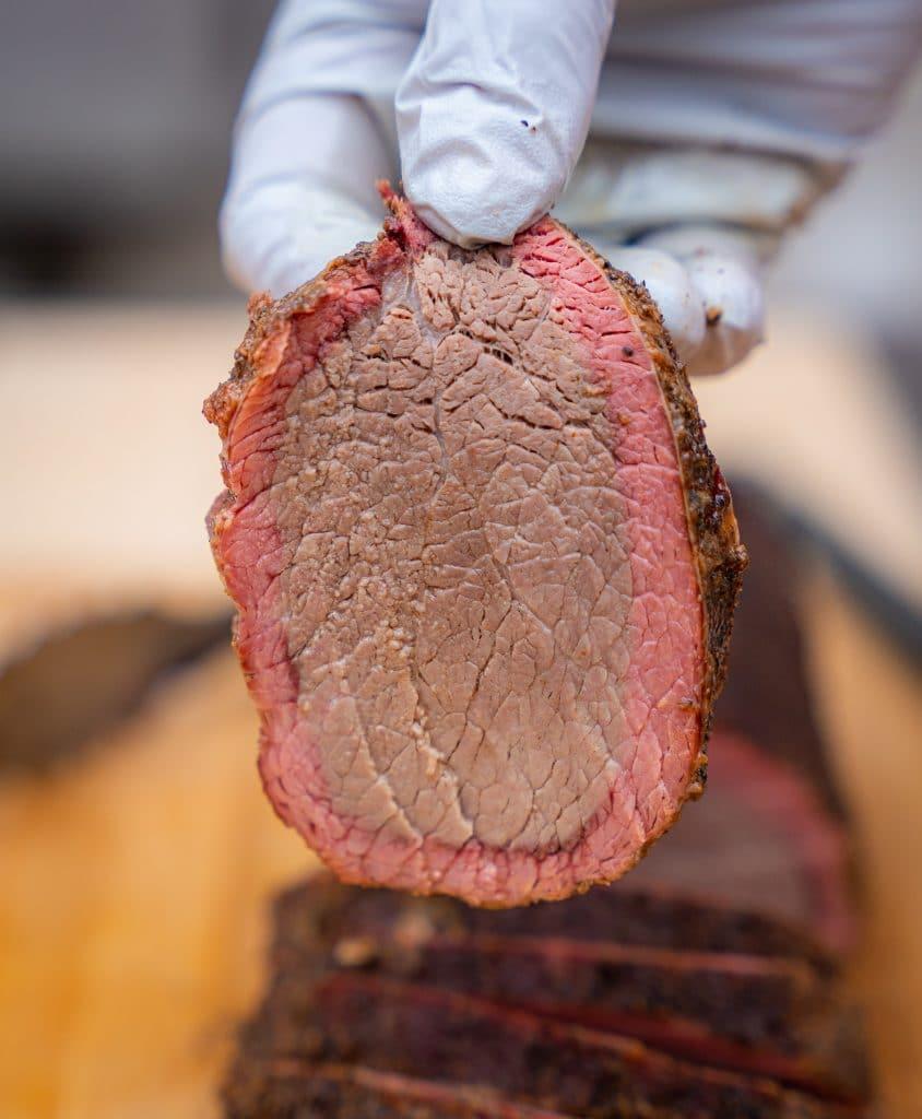 slice of smoked beef eye round