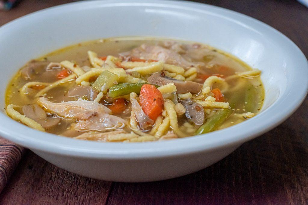 Chicken & Spätzle soup with mixed veggies