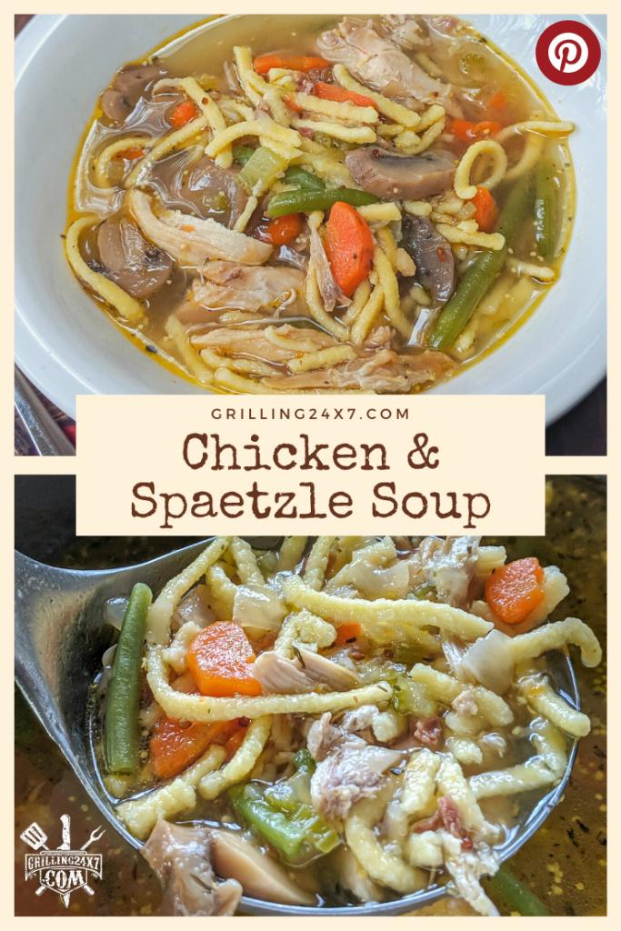 Chicken and Spaetzle soup Pinterest thumbnail