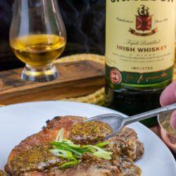 Jameson Irish whiskey mustard glaze over cast iron pork chops