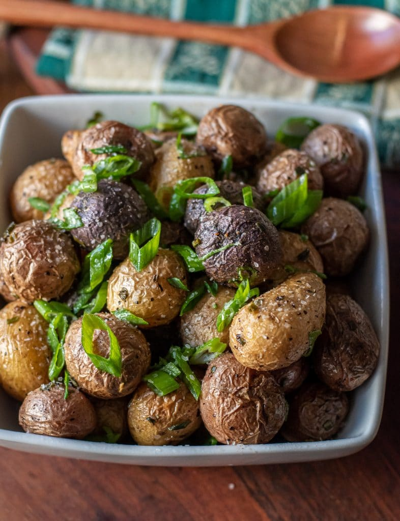 roasted New Potatoes topped with fresh sliced scallions