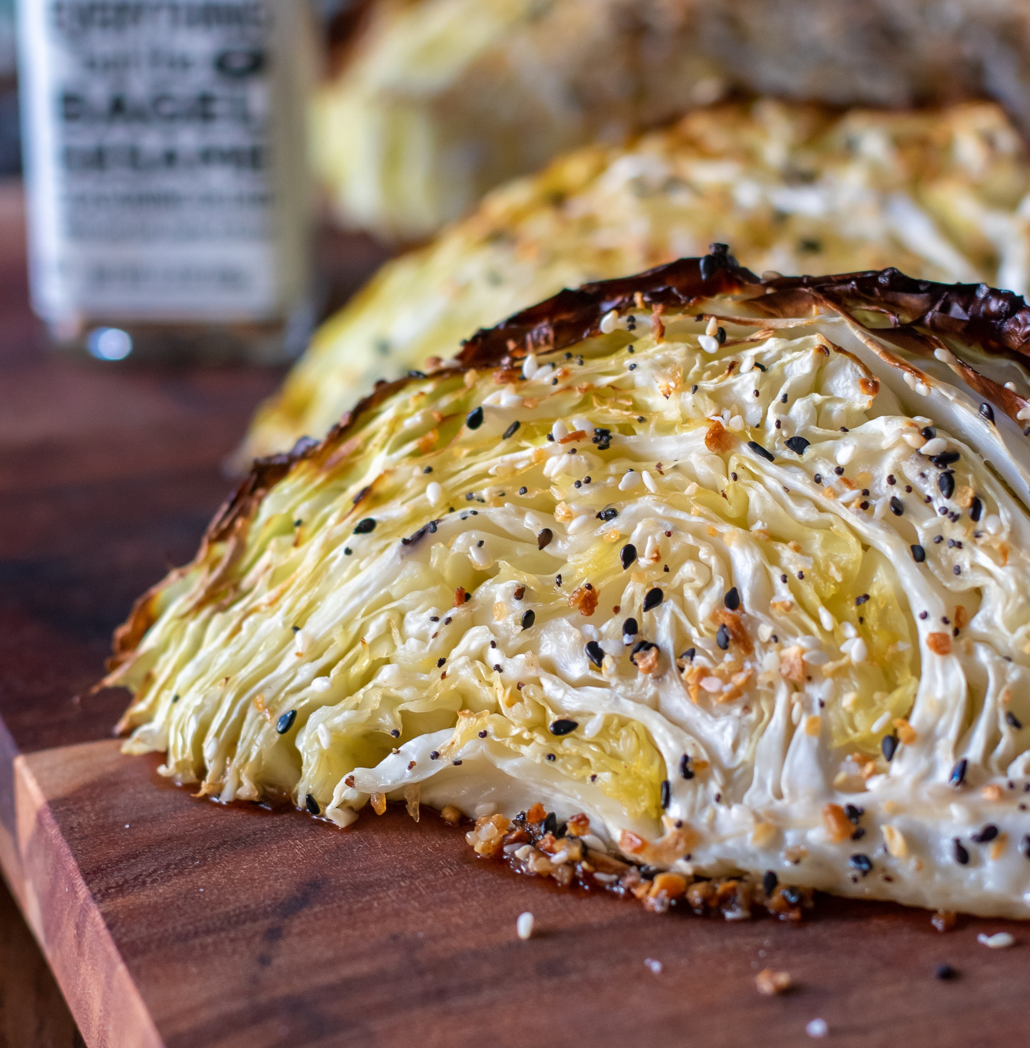 Roasted wedges of Everything but the bagel seasoned cabbage wedges