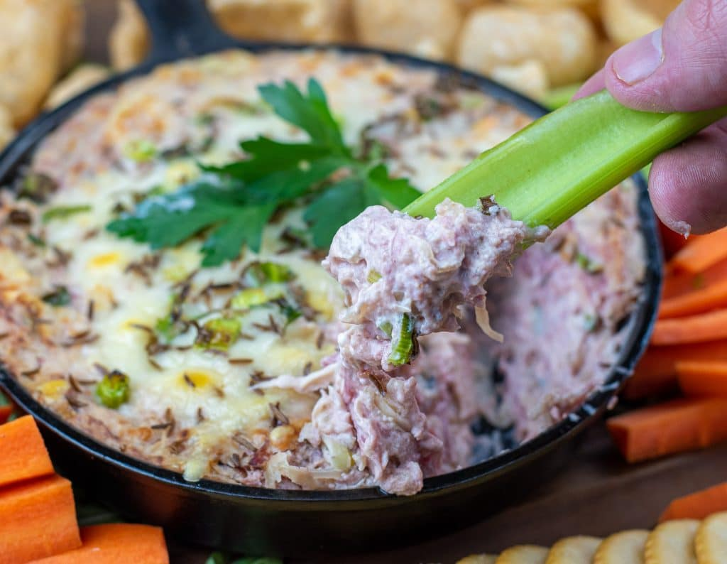 reuben dip with celery dipped, corned beef appetizer leftovers