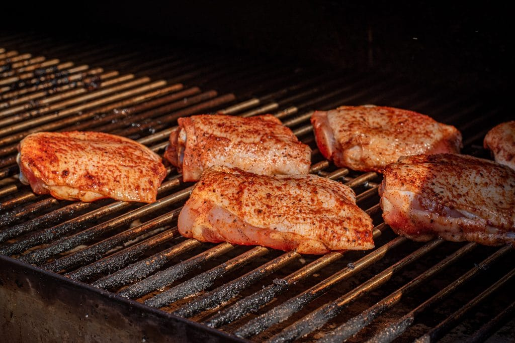 dry rubbed chicken thigh smoked on rectec rt-700 pellet grill