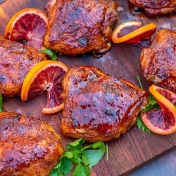 blood orange glaze on pellet grill smoked chicken thighs