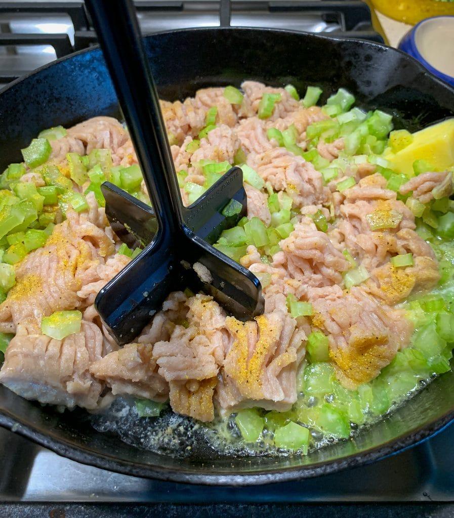 ground chicken with chop stir to prepare buffalo chicken sloppy Joe