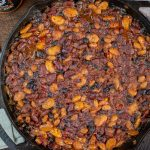 Cast iron smoked barbecue beans