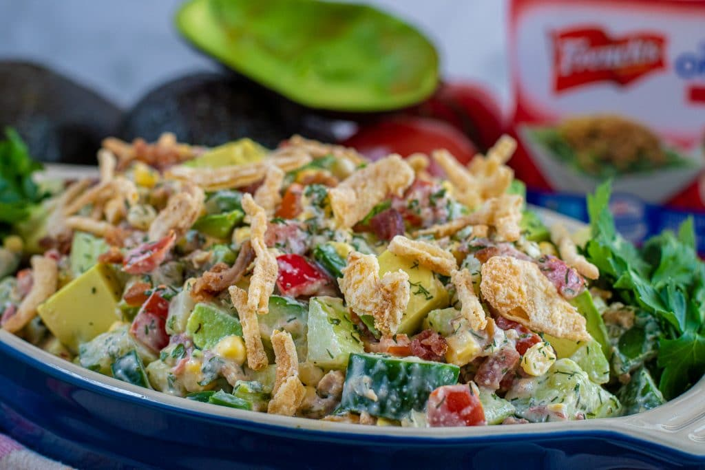 summer side dish for and avocado summer salad with crispy fried onions