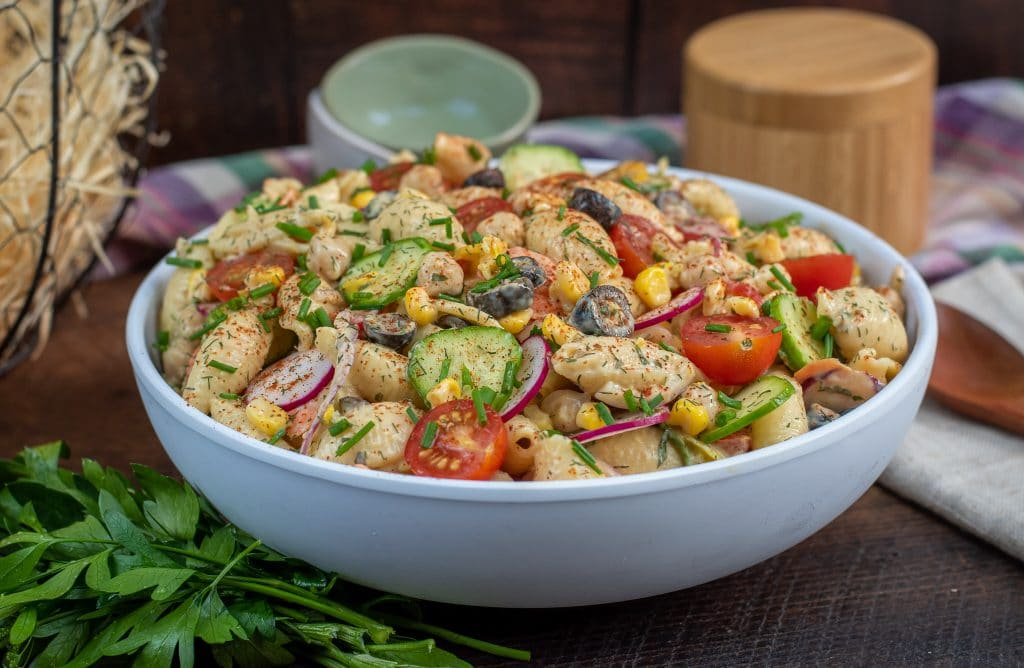 shell pasta salad made with nonfat greek yogurt and fresh veggies