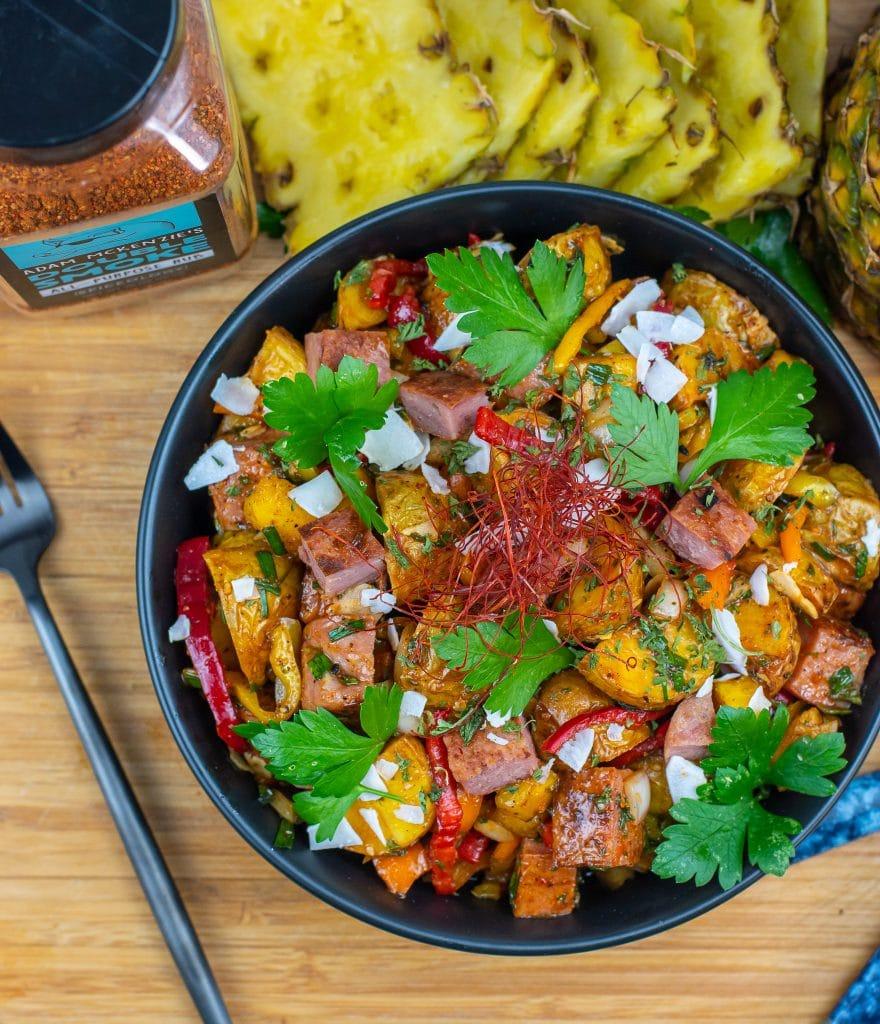 Hawaiian potato salad with fried spam