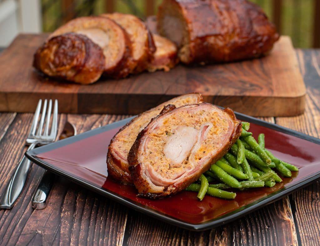 slicedSmoked Pork Tenderloin Green Chile Fatty Bacon Wrapped
