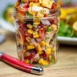 fresh peach & corn salsa served in a jar