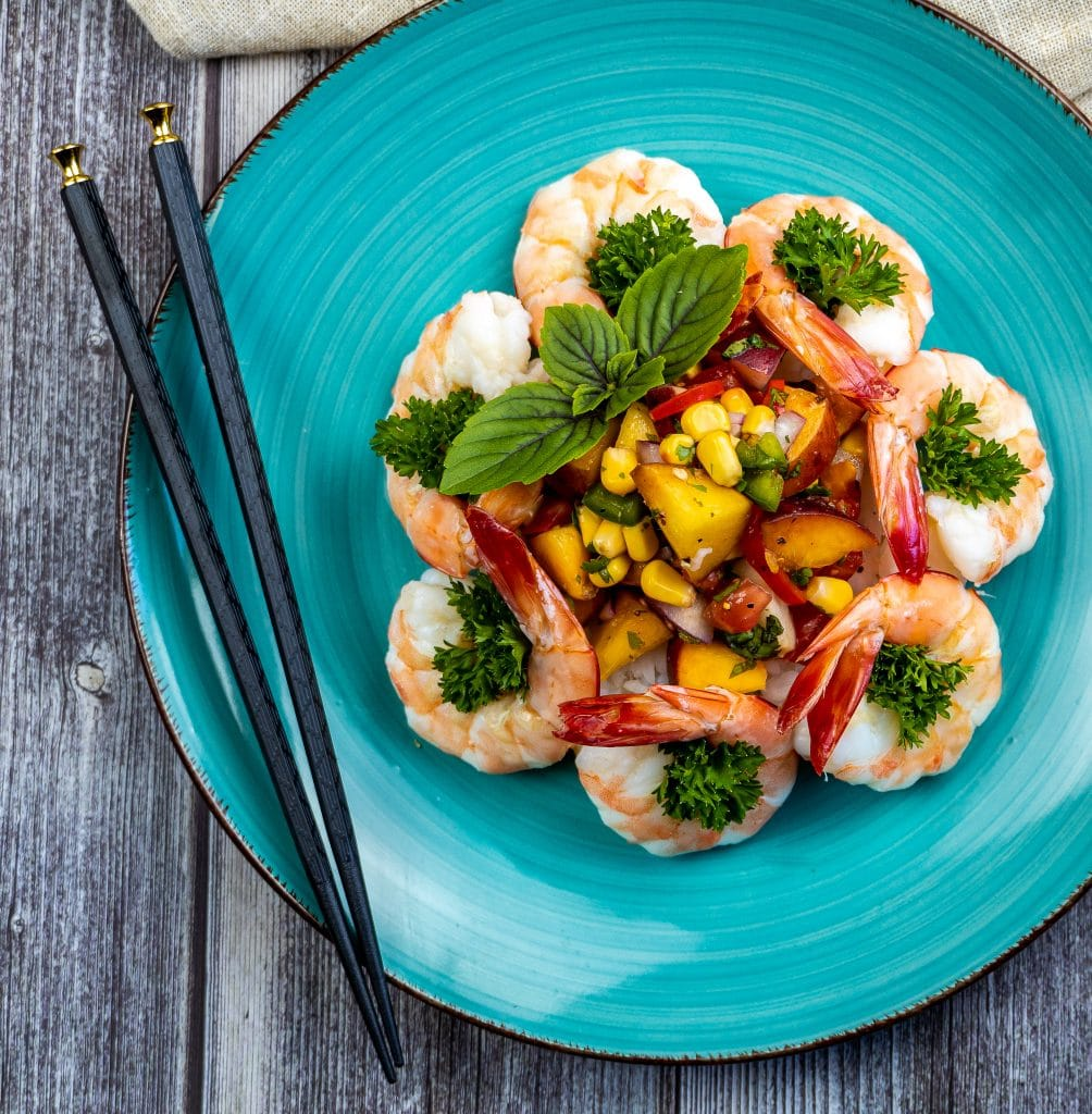 Chilled shrimp with fresh peach salsa