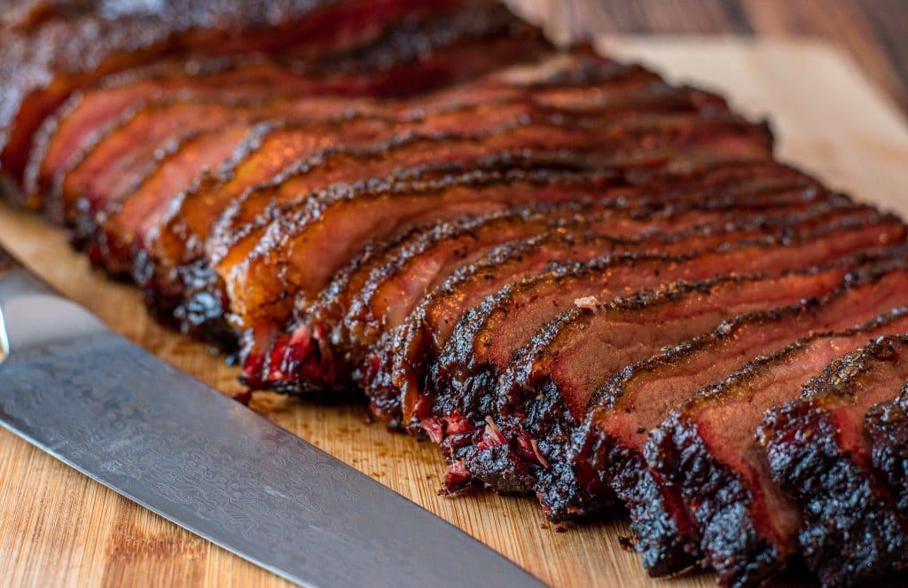 sliced texas smoked beef brisket