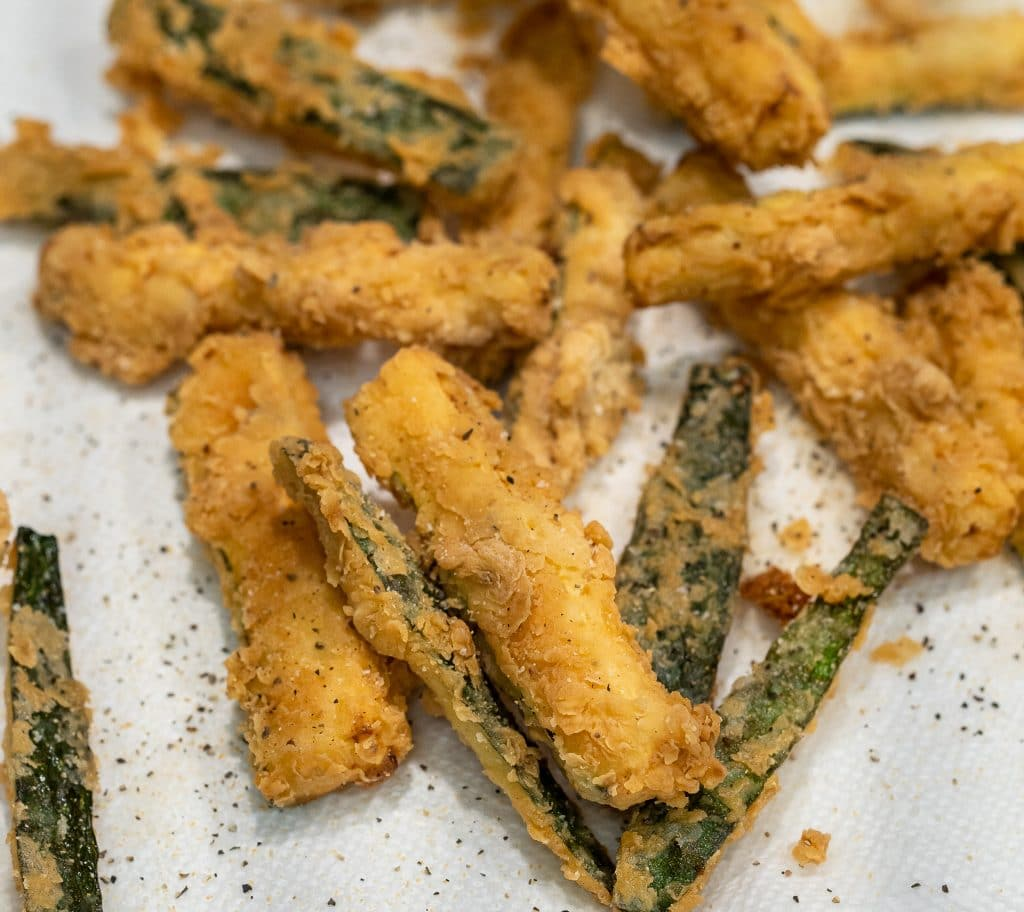zucchini fries cooked in a dutch oven