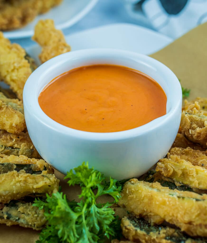 Creamy vodka sauce served with zucchini fries