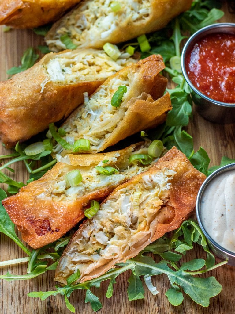 Crab cake egg rolls with old bay aioli