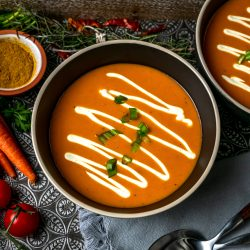 roasted curry carrot soup with yogurt sauce