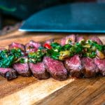 Wagyu Denver Steak topped with thai style chimichurri sauce
