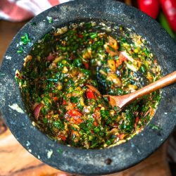Thai style Chimichurri in a mortar and pestle
