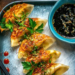 Spicy hoisin vinaigrette with potstickers
