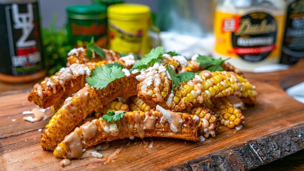 BBQ Dry rub seasoned corn ribs topped with queso fresco