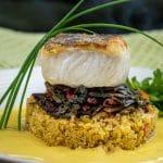 Pan seared Chilean Sea Bass with crispy skin