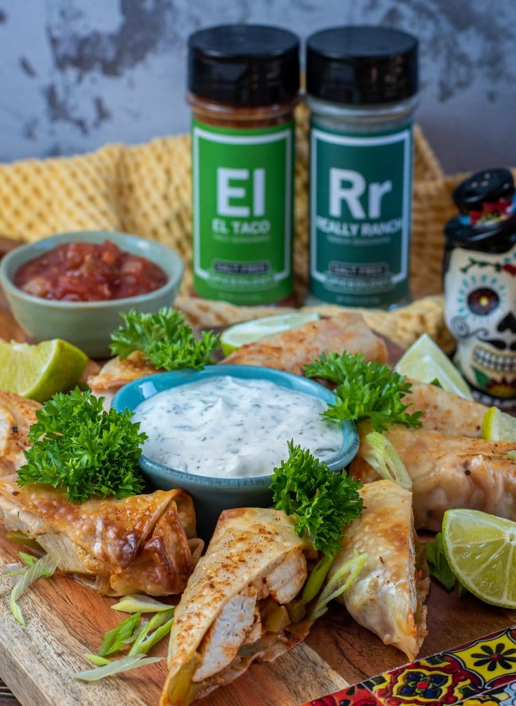 air fried chicken fajita egg rolls with ranch and salsa