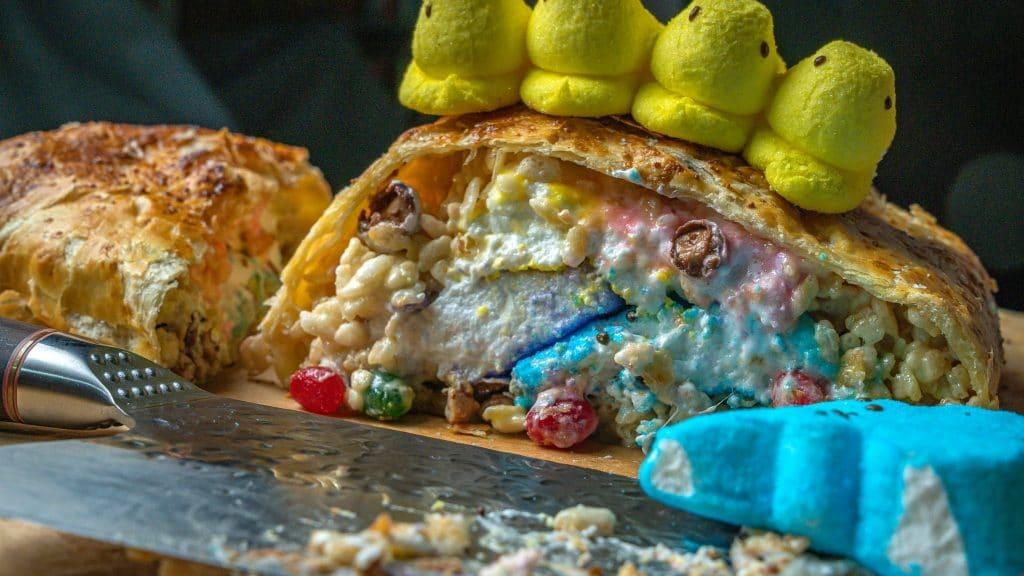 Rice Krispie and Peep Wellington Easter dessert